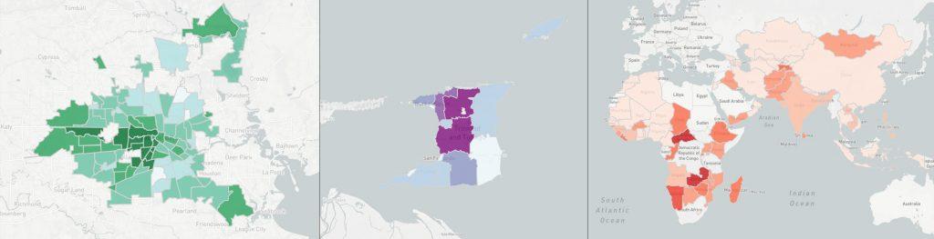 Les visualisations de données s'adaptent à la ville (Houston), au niveau national (Trinité-et-Tobago) et international